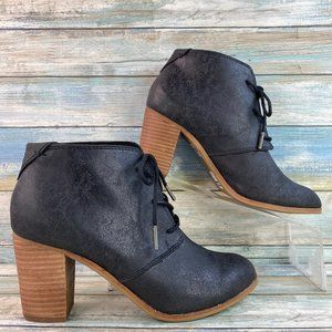 Toms Black Leather Lace Up Ankle Boots